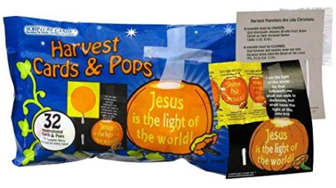 Religious Trunk Treat Halloween cards and lollipops