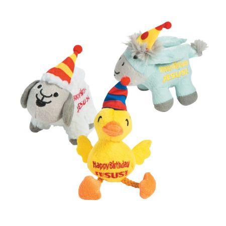 Plush Nativity Animals wearing party hats