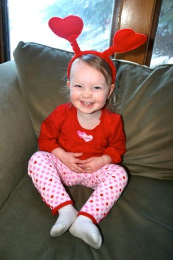 little girl on valentines day