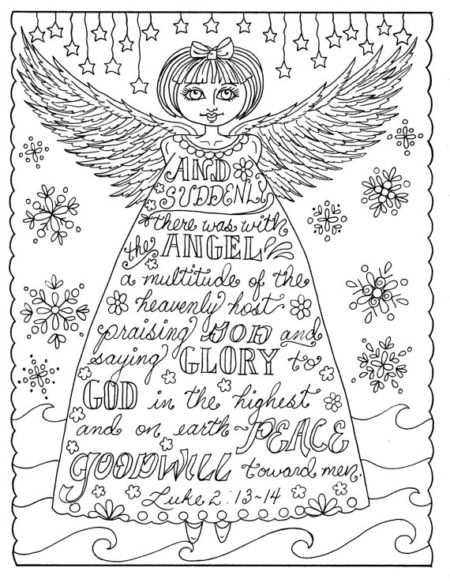 Christian Angel Christmas coloring page with Scripture