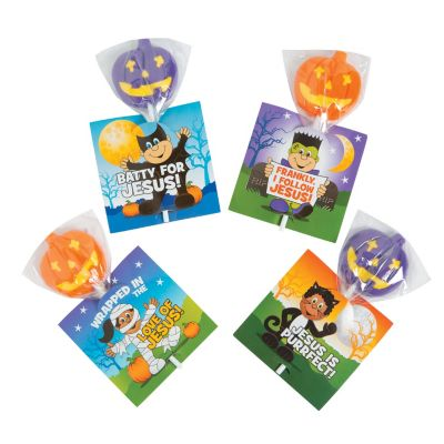 Religious  Halloween ideas suckers on cards
