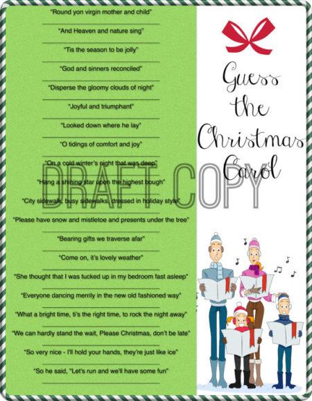 Printable Guess Christmas Carol party game