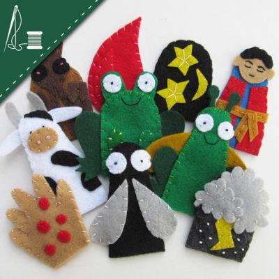 DIY Felt Passover 10 plaques finger puppets