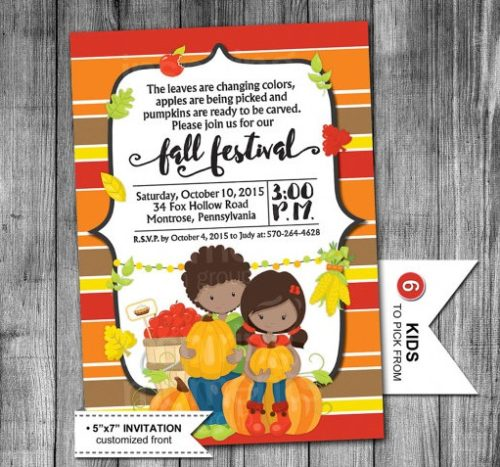 Digital Kids Fall Harvest Festival Party Invite