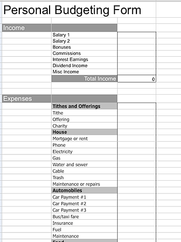 Blank Budget Template - FREE DOWNLOAD