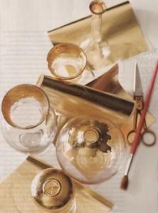 homemade present - gold leaf vases