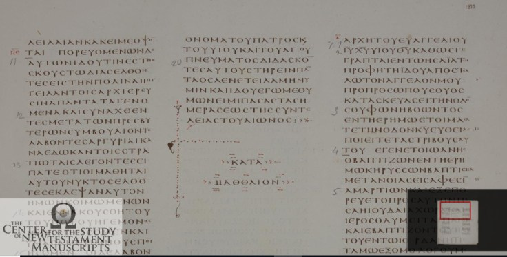 Vaticanus Matthew 28.20