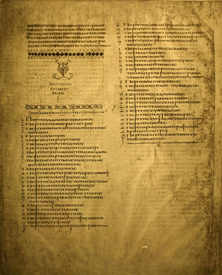 Codex Alexandrinus_list_of_kephalaia