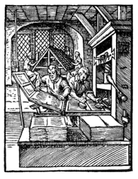 Early wooden printing press