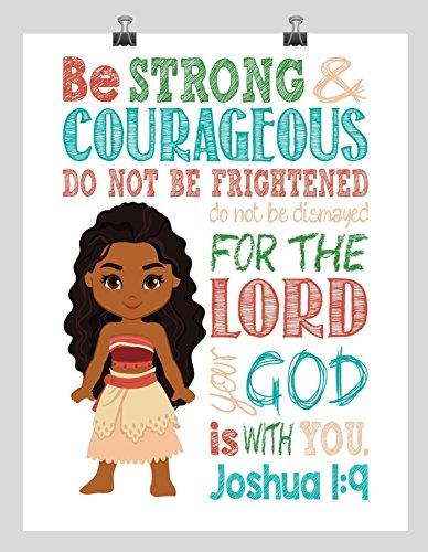 Moana Christian Nursery Decor Wall Art Print Be Strong Courageous