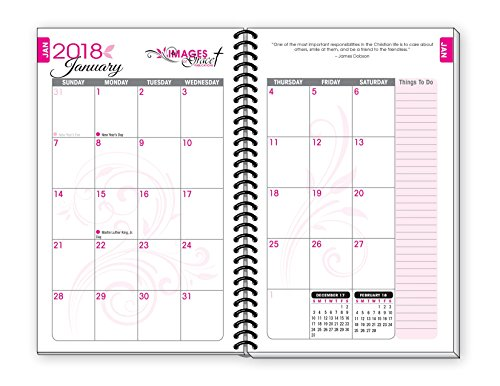 2018 pink inspirational christian daily planner january to december day planners weekly monthly organizer agenda 6 x 9