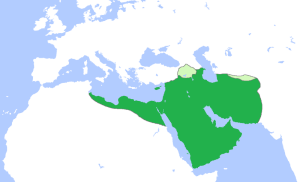 Islamic Caliphate in 661 AD. Notice that it covered the same basic area as Babylonian, Persian, and Greek Empires? (source: wikipedia.org)