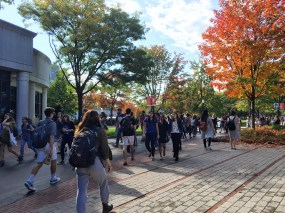 Students walk to class on Northeastern University's campus.