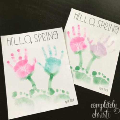 Hello Spring handprint footprint craft