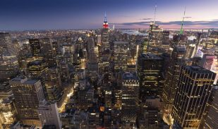 USA, Amerika, Vereinigte Staaten, New York, Blick von oben nacg Sonnenuntergang