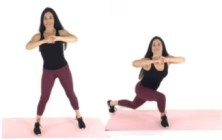Curtsey Lunge Thigh Exercise being done by trainer Christina Carlyle