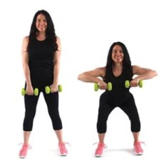 Christina Carlyle doing an upright row squat fat burning exercise