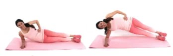Side Plank Pulse ab exercise being done by Christina Carlyle