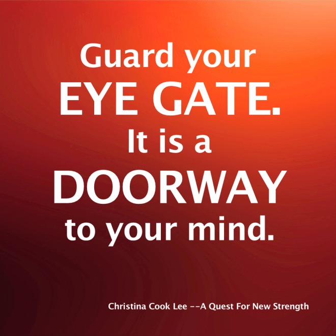 Guard your eye gate. It is a doorway to your mind. --Christina Cook Lee, A Quest For New Strength