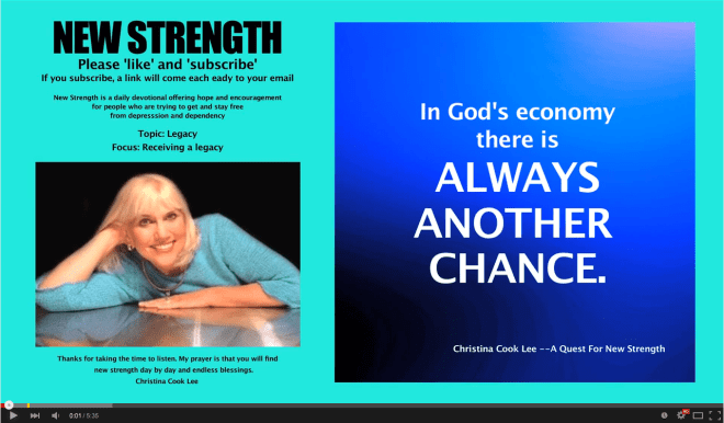 In God's economy there is always another chance. --Christina Cook Lee, A Quest For New Strength