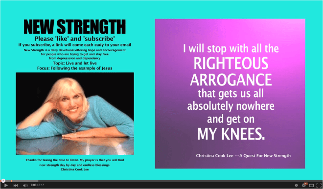 I will stop with all the righteous arrogance that gets us all absolutely nowhere and get on my knees.  --Christina Cook Lee, A Quest For New Strength