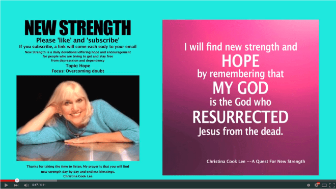 I will find new strength and hope by remembering that m God is the God who resurrected Jesus from the dead. --Christina Cook Lee, A Quest For New Strength