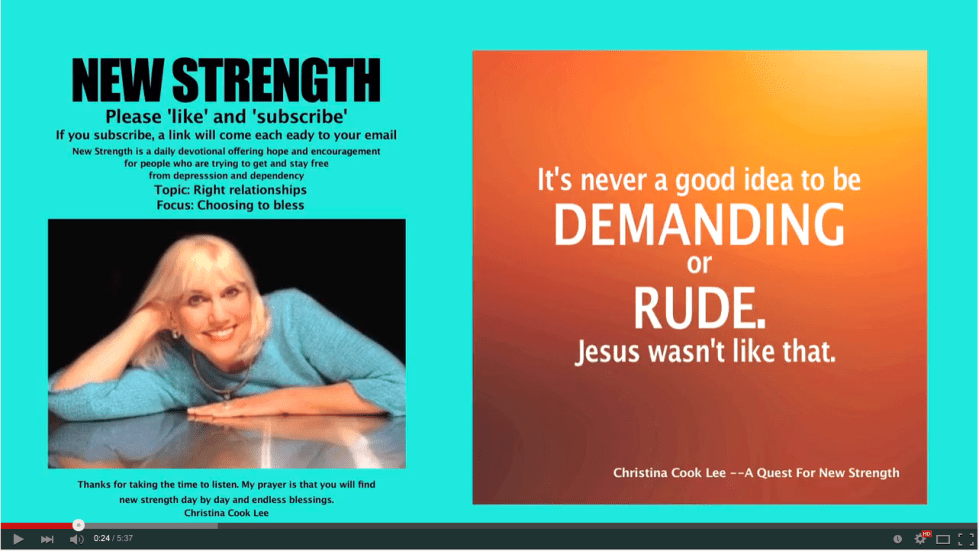 It's never a good idea to be demanding or rude. Jesus wasn't like that. --Christina Cook Lee, A Quest For New Strength