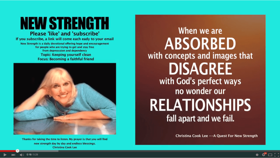 When we are absorbed with concepts and images that disagree with God's perfect ways, no wonder our relationships fall apart and fail. --Christina Cook Lee, A Quest For New Strength