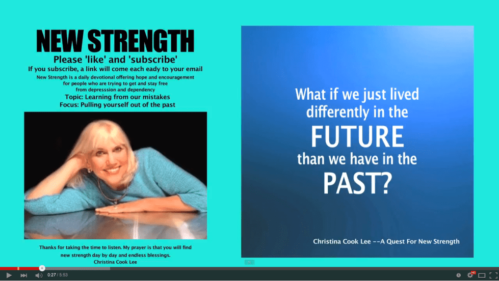 What if we just lived differently in the future than we have in the past? --Christina Cook Lee, A Quest For New Strength