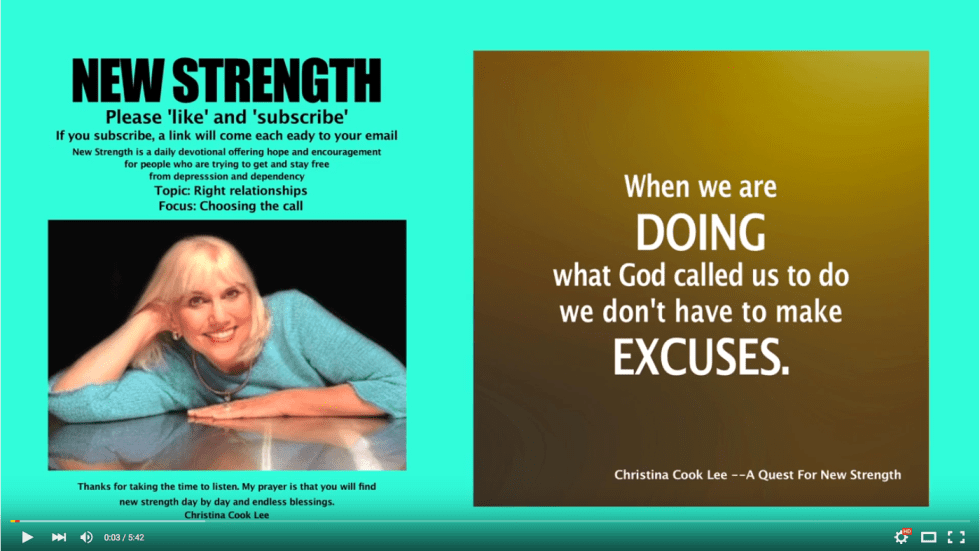 When we are doing what God called us to do, we don't have to make excuses. --Christina Cook Lee, A Quest For New Strength
