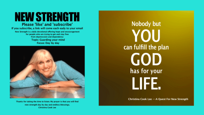 Nobody but you can fulfill the plan God has for your life. --Christina Cook Lee, A Quest For New Strength