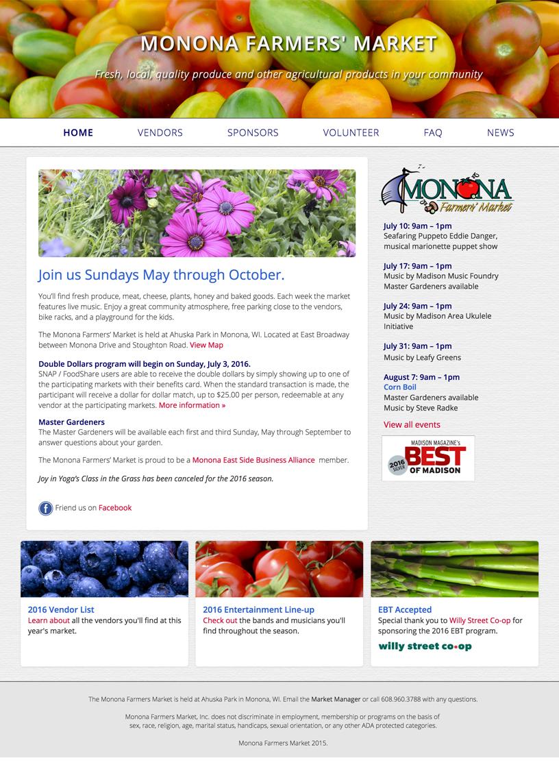 Monona Farmers' Market website design