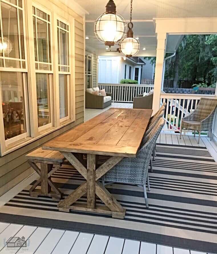 11' farm table on patio