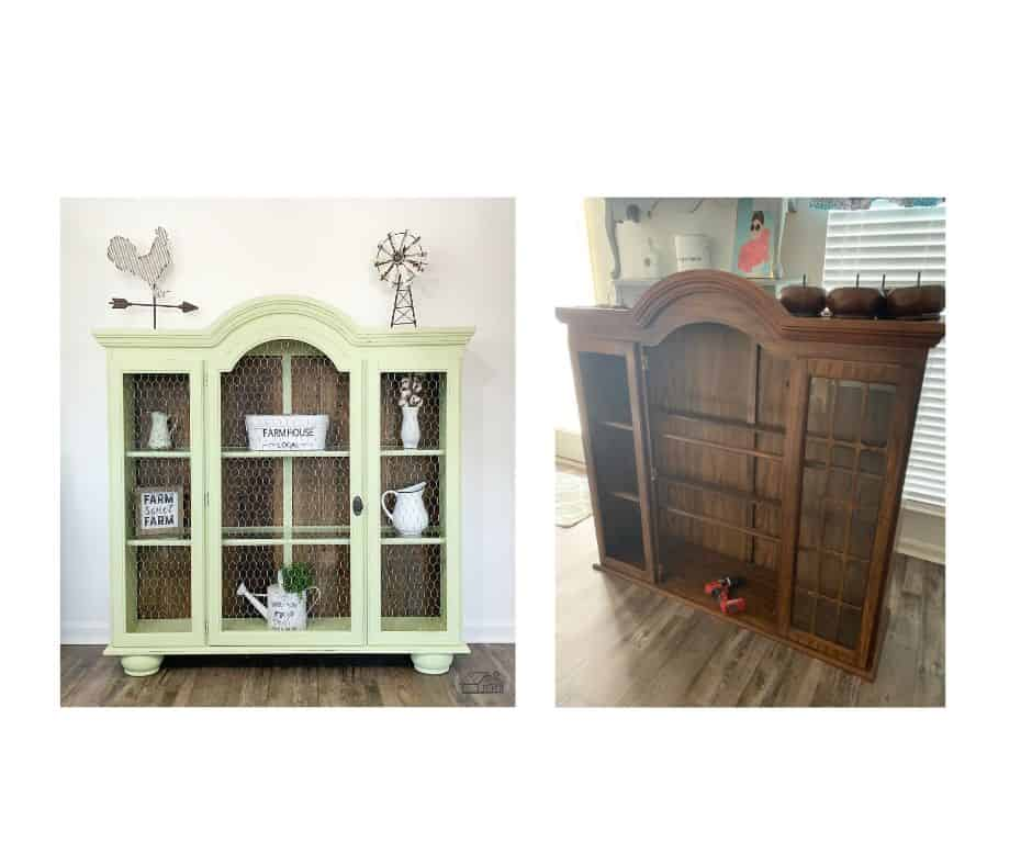 Hutch top before painting and after painting.
