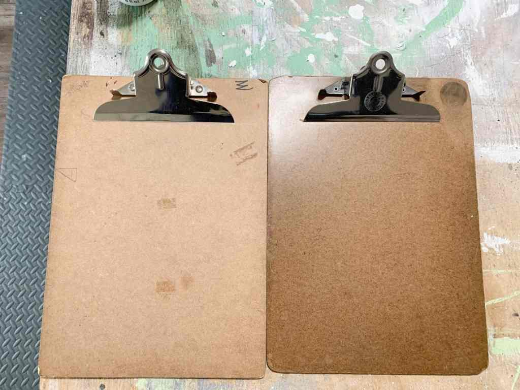 Old clipboards from thrift store.