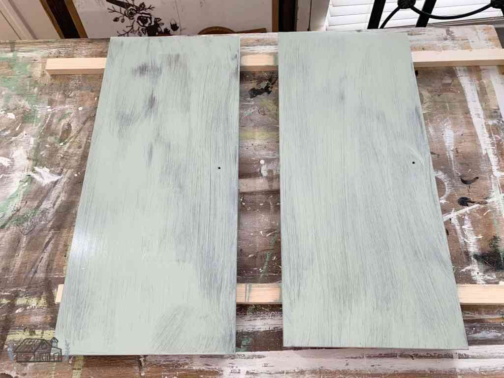 First coat of paint applied to accent cabinet doors.