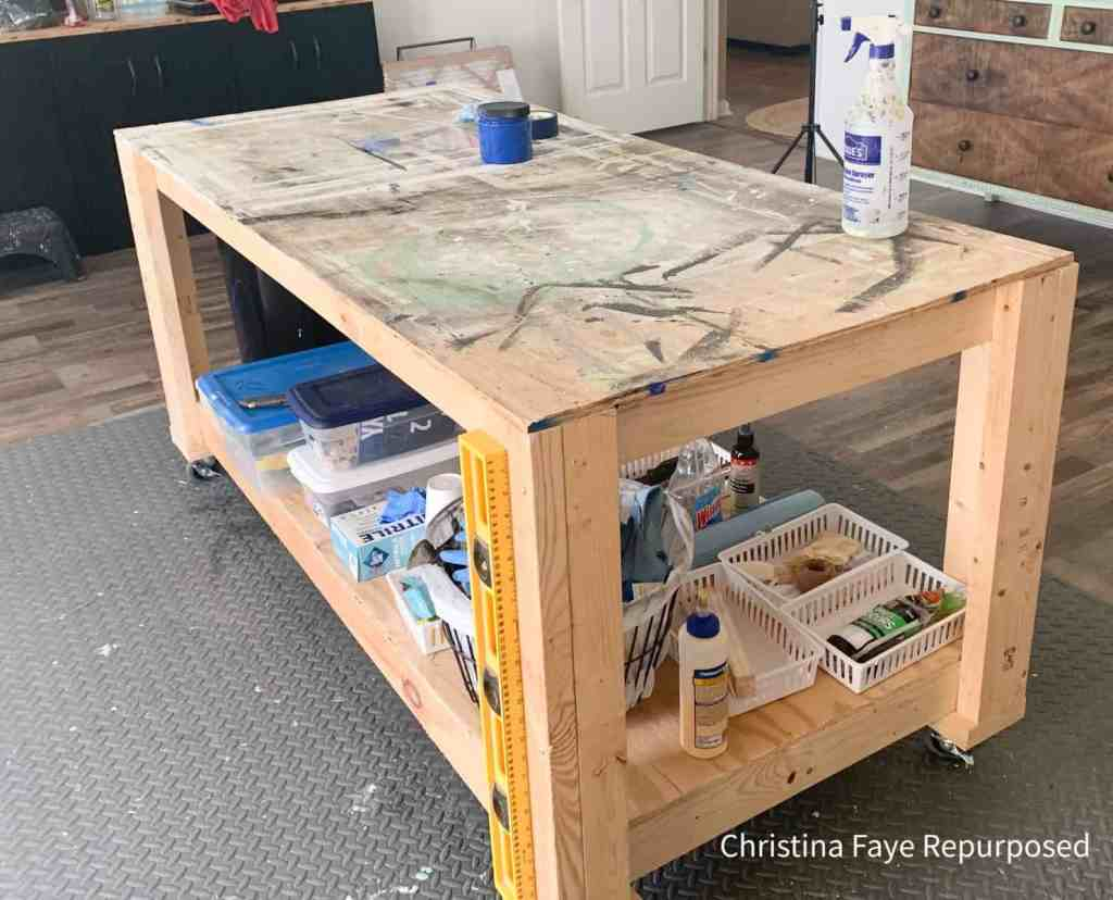 Shop table constructed with wood