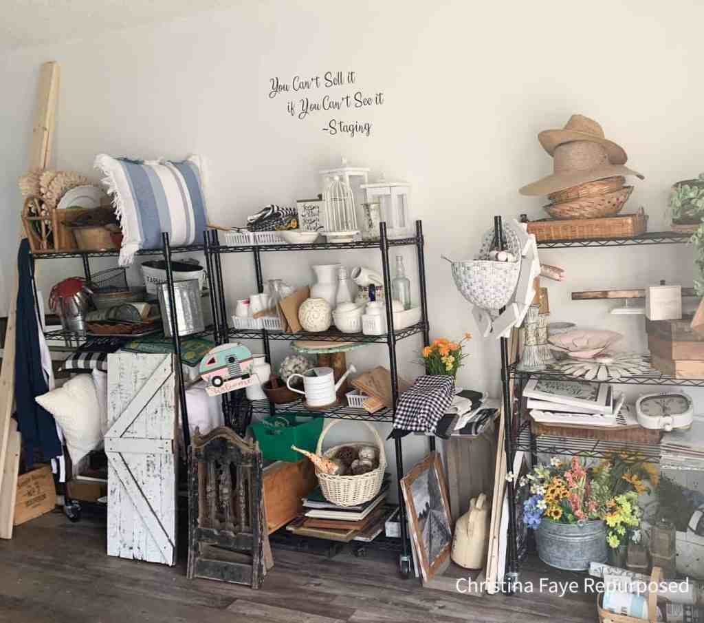 Staging items on shelves