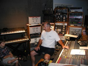 Dad in his studio with Nate, 2004