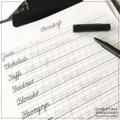 Lær skråskrift - skriv sammenhængene ord.