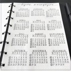 Bullet journaling - årsoversigt