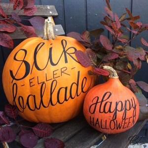 Halloweengræskar med håndskrift