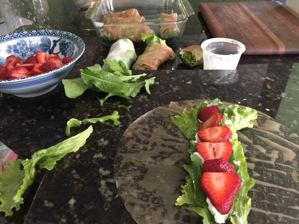 Arugula Strawberry Spring Rolls