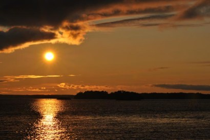 Setting sun in Stockholm archipelago