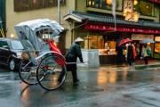 Rickshaws in rainy Kyoto in april.