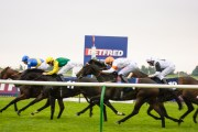 Racing on the Rowley Mile in Newmarket.