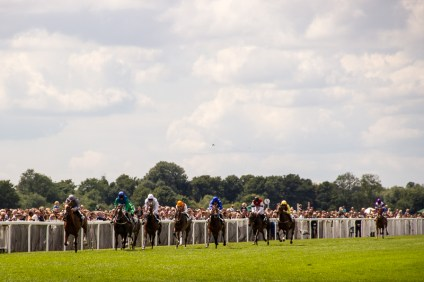 Horses coming up for the finish at Windsor racecourse.