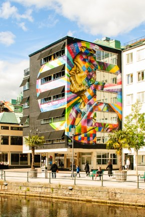 Borås is filled with big murals, this one by Kobra.