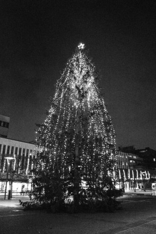 Christmas tree on Borås town Square in Sweden.