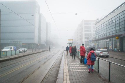Foggy weather in Helsinki during easter.